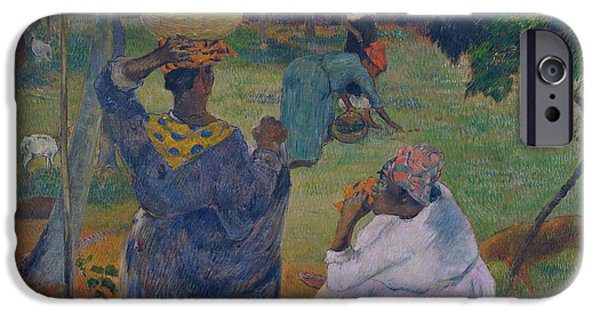 Mango Paintings iPhone Cases - Among the mangoes at Martinique iPhone Case by Paul Gauguin