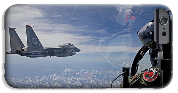 Cockpit Photographs iPhone Cases - An F-15 Eagle Pilot Flies In Formation iPhone Case by HIGH-G Productions