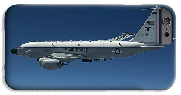 Nebraska iPhone Cases - An Rc-135w Rivet Joint Aircraft Flies iPhone Case by HIGH-G Productions