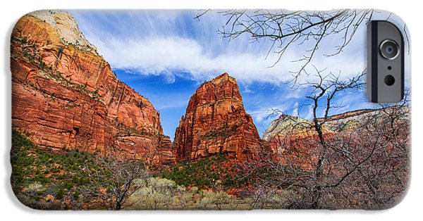 Hiking iPhone Cases - Angels Landing iPhone Case by Chad Dutson