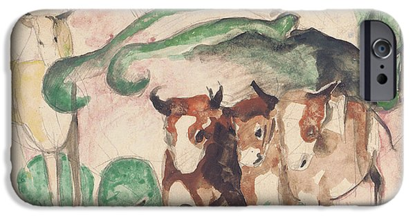 Abstract Expressionist iPhone Cases - Animals In A Landscape iPhone Case by Franz Marc