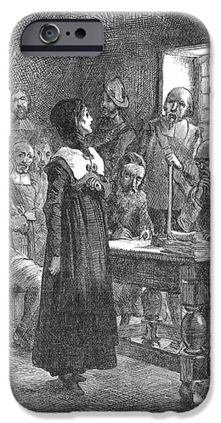 Reformer iPhone Cases - Anne Hutchinson (1591-1643) iPhone Case by Granger