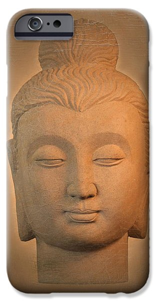 Tranquil Sculptures iPhone Cases - antique oil effect Buddha Gandhara. iPhone Case by Terrell Kaucher