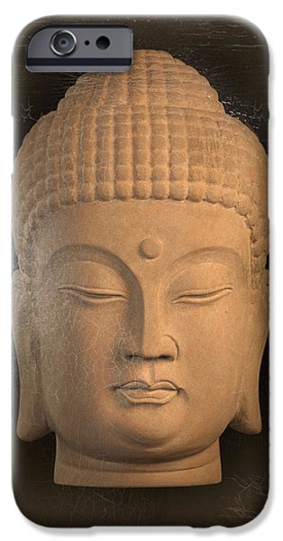 Tranquil Sculptures iPhone Cases - antique oil effect Buddha Korean ,, iPhone Case by Terrell Kaucher