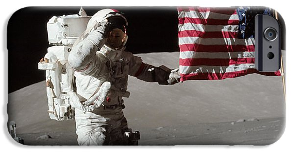 Patriotism iPhone Cases - Apollo 17 Astronaut Salutes The United iPhone Case by Stocktrek Images
