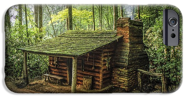 Log Cabin Art iPhone Cases - Appalachian Mountain Cabin iPhone Case by Randall Nyhof