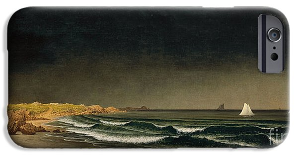 Approaching Storm iPhone Cases - Approaching Storm - Beach near Newport iPhone Case by Martin Johnson Heade