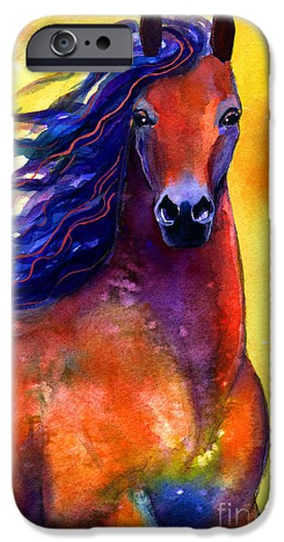 Animal Drawings iPhone Cases - Arabian horse 1 painting iPhone Case by Svetlana Novikova