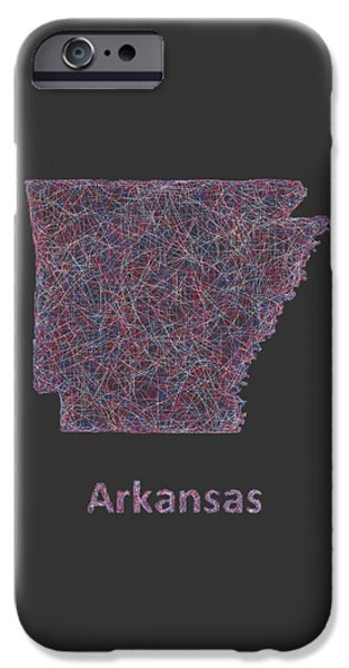 Arkansas Drawings iPhone Cases - Arkansas line art map iPhone Case by David Zydd