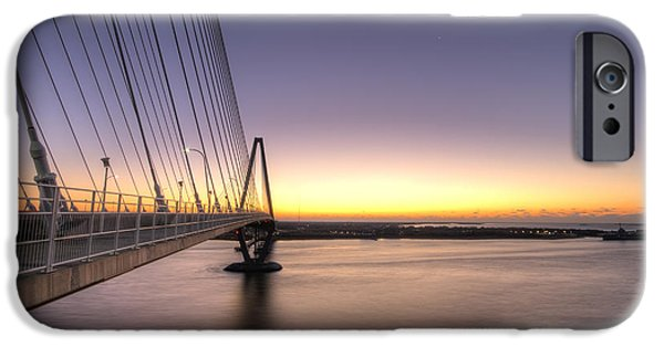 Yorktown iPhone Cases - Arthur Ravenel Jr Bridge Sunrise iPhone Case by Dustin K Ryan