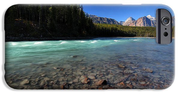 Park Scene Digital Art iPhone Cases - Athabasca River in Jasper National Park iPhone Case by Mark Duffy