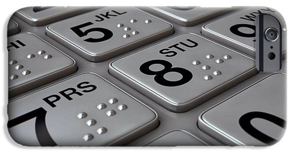 Account iPhone Cases - ATM Keypad Closeup iPhone Case by Allan Swart