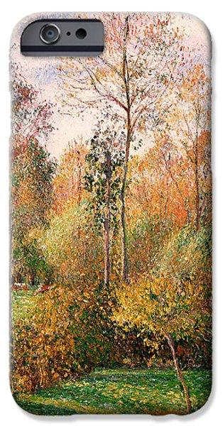 Pissarro iPhone Cases - Autumn Poplars - Eragny iPhone Case by Camille Pissarro