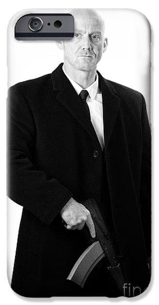 Cut-outs iPhone Cases - Bald Headed Man Wearing Heavy Black Overcoat Holding Ak-47 iPhone Case by Joe Fox