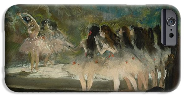 19th Century Pastels iPhone Cases - Ballet at the Paris Opera iPhone Case by Edgar Degas