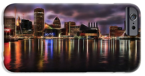 Baltimore iPhone Cases - Baltimore Maryland Skyline iPhone Case by Marvin Blaine