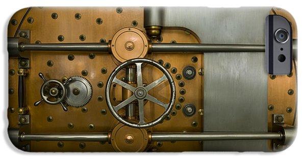 Enterprise Photographs iPhone Cases - Bank Vault Door Exterior iPhone Case by Adam Crowley
