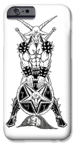 Religious Drawings iPhone Cases - Baphomets Shield iPhone Case by Alaric Barca
