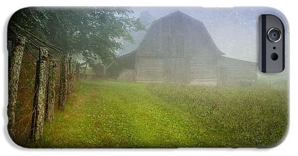 Old Barn iPhone Cases - Barn in the Hay Field iPhone Case by Joye Ardyn Durham