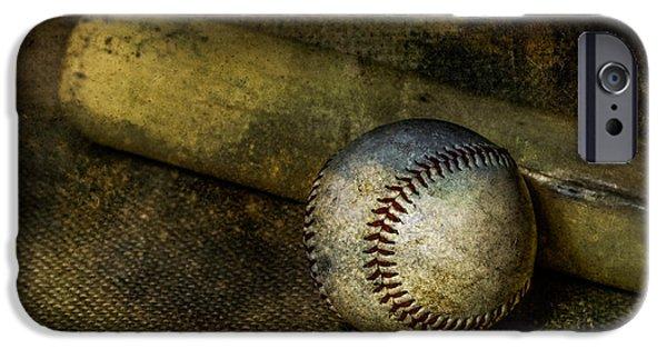 Baseball Glove iPhone Cases - Baseball and Bat iPhone Case by Erin Cadigan
