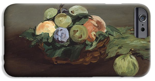 Interior Still Life iPhone Cases - Basket Of Fruit iPhone Case by Edouard Manet