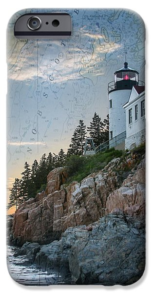 New England Lighthouse iPhone Cases - Bass Harbor lighthouse on Maine nautical chart iPhone Case by Jeff Folger