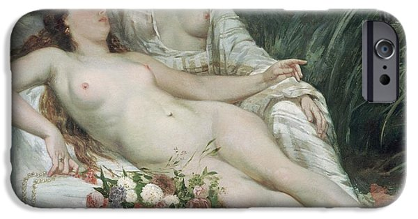 Lesbian Paintings iPhone Cases - Bathers or Two Nude Women iPhone Case by Gustave Courbet