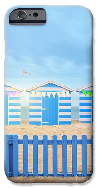 Flying Seagull iPhone Cases - Beach Huts iPhone Case by Amanda And Christopher Elwell