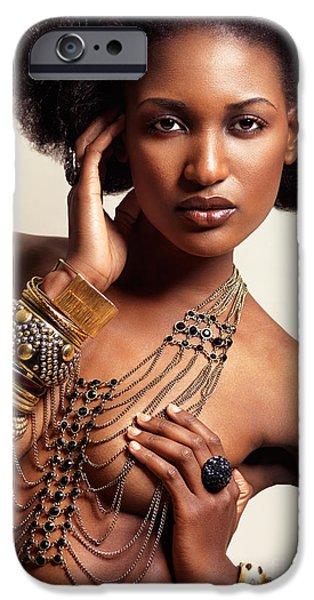 Big Hair iPhone Cases - Beautiful african american woman wearing jewelry iPhone Case by Oleksiy Maksymenko