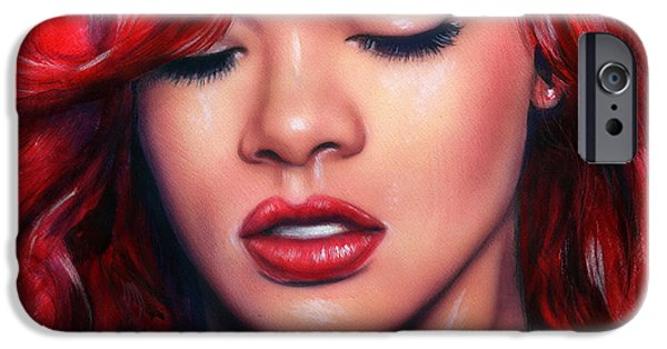 Rihanna Paintings iPhone Cases - beautiful airbrush portrait of Rihanna with red hair and a face close up iPhone Case by Jozef Klopacka