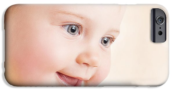 Little Girl iPhone Cases - Beautiful baby portrait iPhone Case by Anna Omelchenko