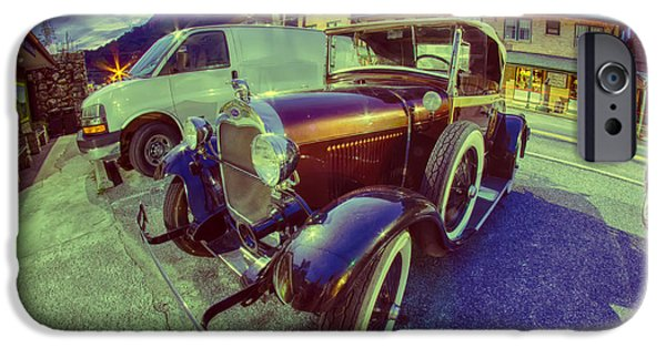 Old Cars iPhone Cases - Beautiful Classic Ford Car At Night On City Street iPhone Case by Alexandr Grichenko