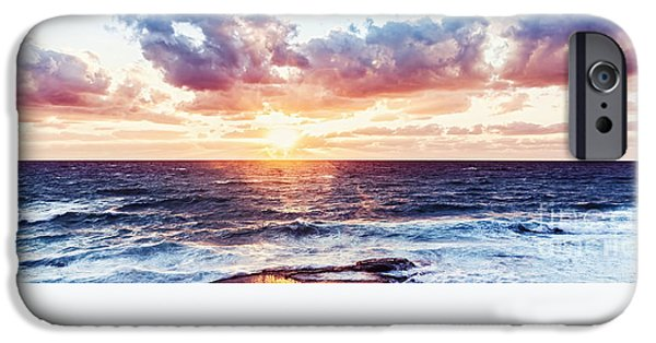 Sailboat Ocean iPhone Cases - Beautiful sea landscape iPhone Case by Anna Omelchenko