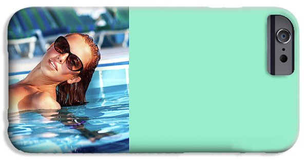 Pleasure iPhone Cases - Beautiful woman in the pool iPhone Case by Anna Omelchenko