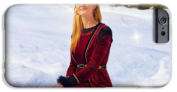 Snowy Day iPhone Cases - Beautiful Young Blonde Lady In Medieval Velvet Clothing Posing In The Snowy Mountain Landscape With  iPhone Case by Jozef Klopacka