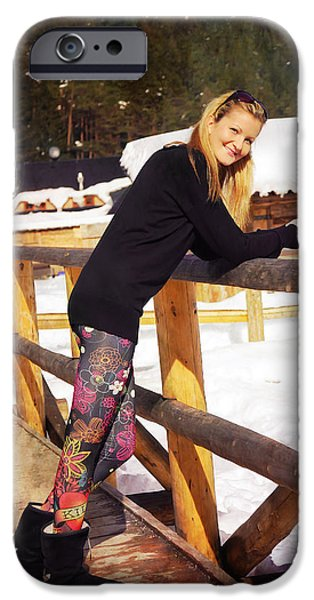 Snowy Day iPhone Cases - Beautiful Young Blonde Lady Posing On A Wooden Balustrade In A S iPhone Case by Jozef Klopacka