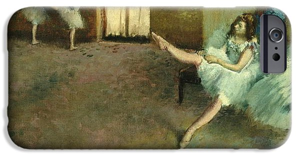 Dancing Girl Paintings iPhone Cases - Before The Ballet iPhone Case by Edgar Degas