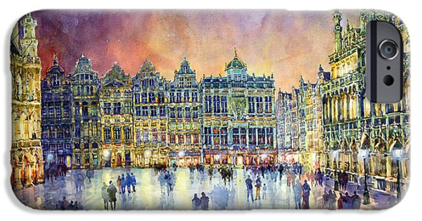 Buildings iPhone Cases - Belgium Brussel Grand Place Grote Markt iPhone Case by Yuriy  Shevchuk