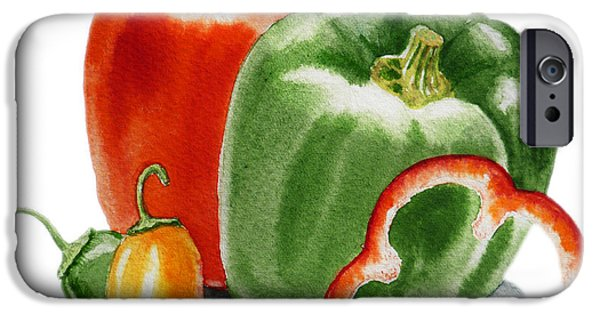 Bell iPhone Cases - Bell Peppers Jalapeno iPhone Case by Irina Sztukowski