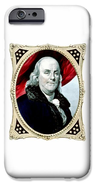 U.s Heroes iPhone Cases - Ben Franklin iPhone Case by War Is Hell Store