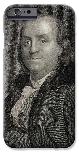 Politician iPhone Cases - Benjamin Franklin, 1706 To 1790 iPhone Case by Ken Welsh