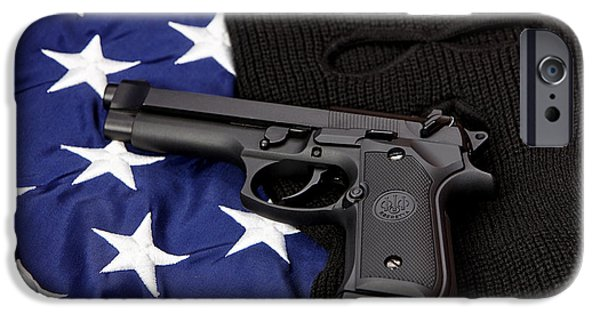 Constitution iPhone Cases - Beretta Handgun Lying On Balaclava And United States Of America Flag iPhone Case by Joe Fox