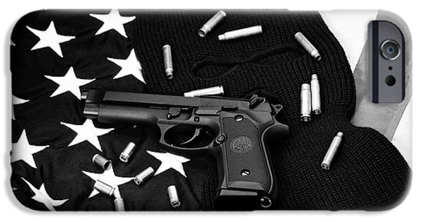 Constitution iPhone Cases - Beretta Handgun Lying On Balaclava And United States Of America Flag With Used Shell Casings iPhone Case by Joe Fox