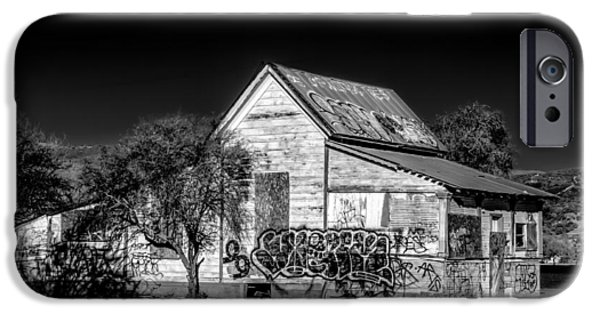 Agriculture iPhone Cases - Black and White Abandoned American Farmhouse iPhone Case by Ken Wolter