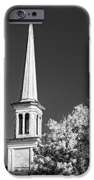 Fall iPhone Cases - Black and White Old Country Church iPhone Case by Keith Webber Jr
