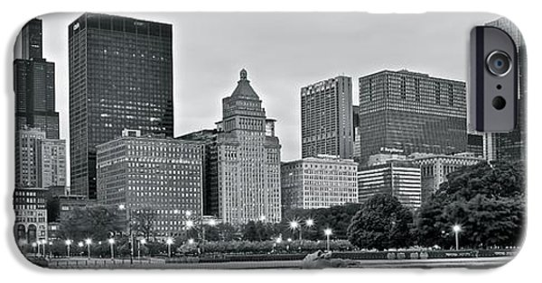 Chicago Cubs iPhone Cases - Black and White Skyline iPhone Case by Frozen in Time Fine Art Photography