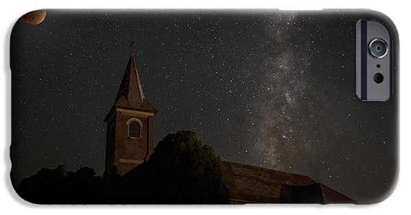 Built Structure iPhone Cases - Blood Moon over St. Johns Church iPhone Case by Keith Kapple