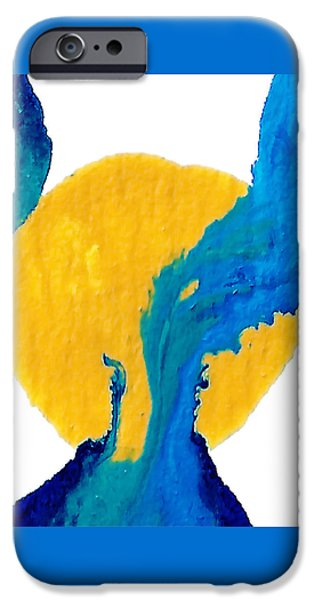 Abstract Forms Mixed Media iPhone Cases - Blue and yellow Interactions  iPhone Case by Amy Vangsgard