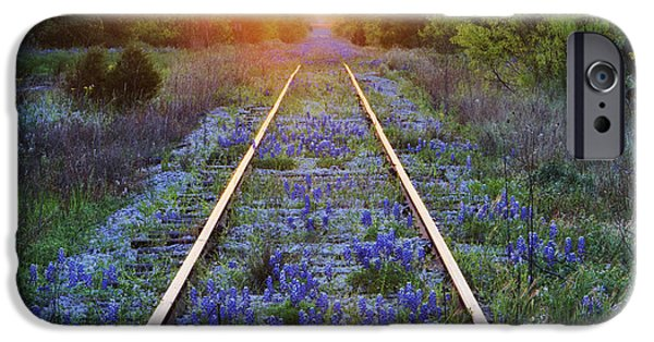 Overgrown iPhone Cases - Blue Bonnets on Railroad Tracks iPhone Case by Jeremy Woodhouse