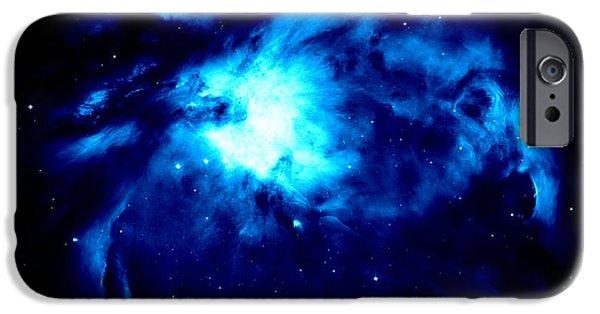 Constellations iPhone Cases - Blue Nebula iPhone Case by Johari Smith